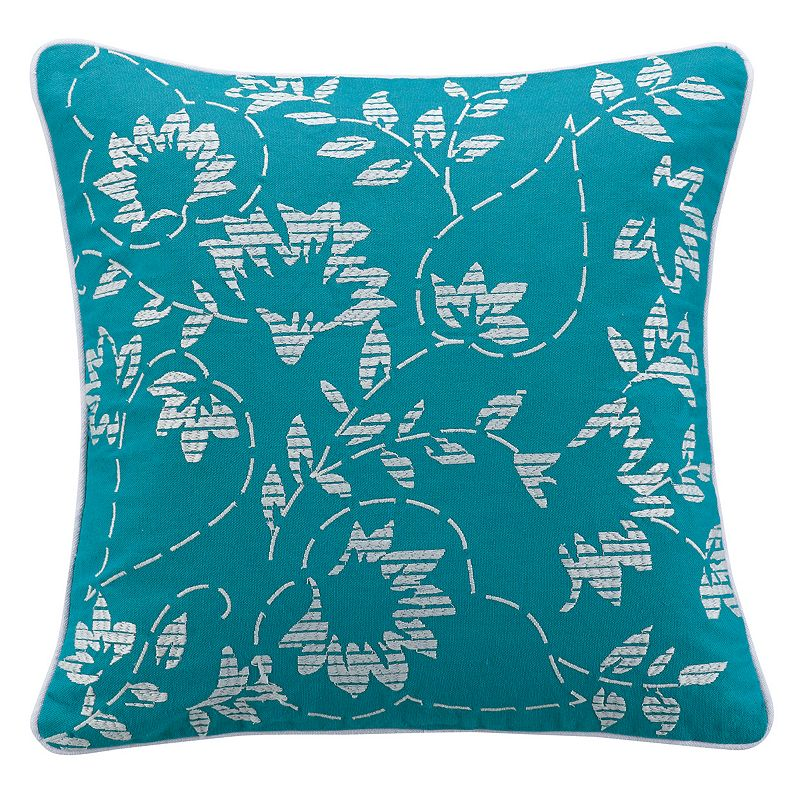 KAS Camille Flower Embroidered Throw Pillow