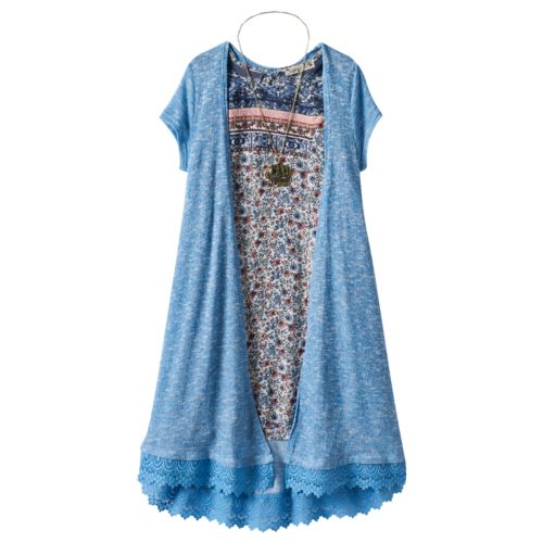 Girls 7-16 Knitworks Shift Dress, Cardigan & Elephant Necklace