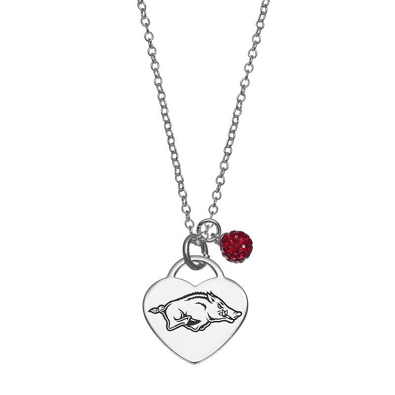 Fiora Sterling Silver Arkansas Razorbacks Heart Pendant Necklace