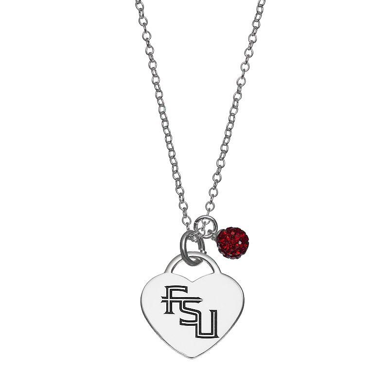 Fiora Sterling Silver Florida State Seminoles Heart Pendant Necklace