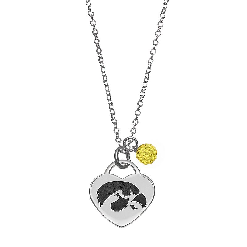 Fiora Sterling Silver Iowa Hawkeyes Heart Pendant Necklace