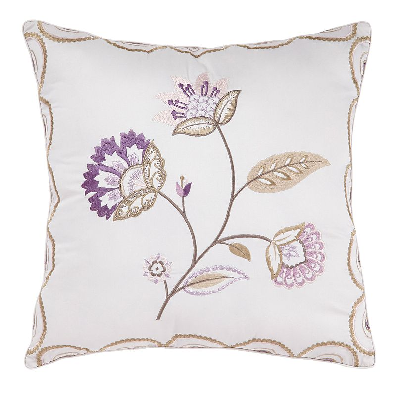 Downton Abbey Crawley Embroidered Floral Throw Pillow