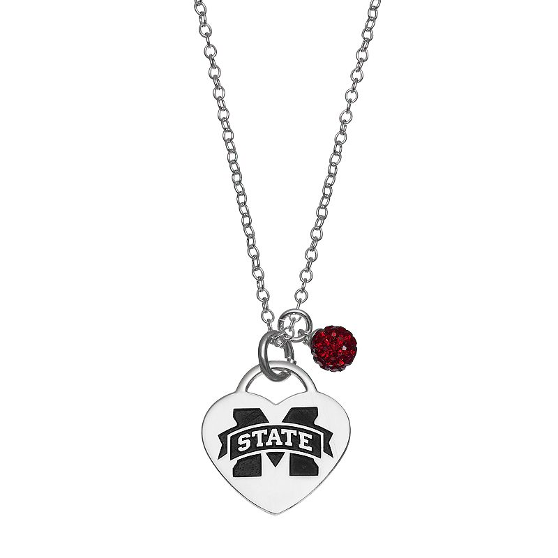 Fiora Sterling Silver Mississippi State Bulldogs Heart Pendant Necklace