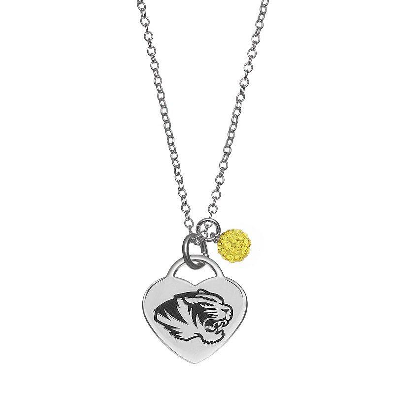 Fiora Sterling Silver Missouri Tigers Heart Pendant Necklace
