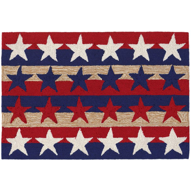 Trans Ocean Imports Liora Manne Frontporch Stars and Stripes Indoor Outdoor Rug