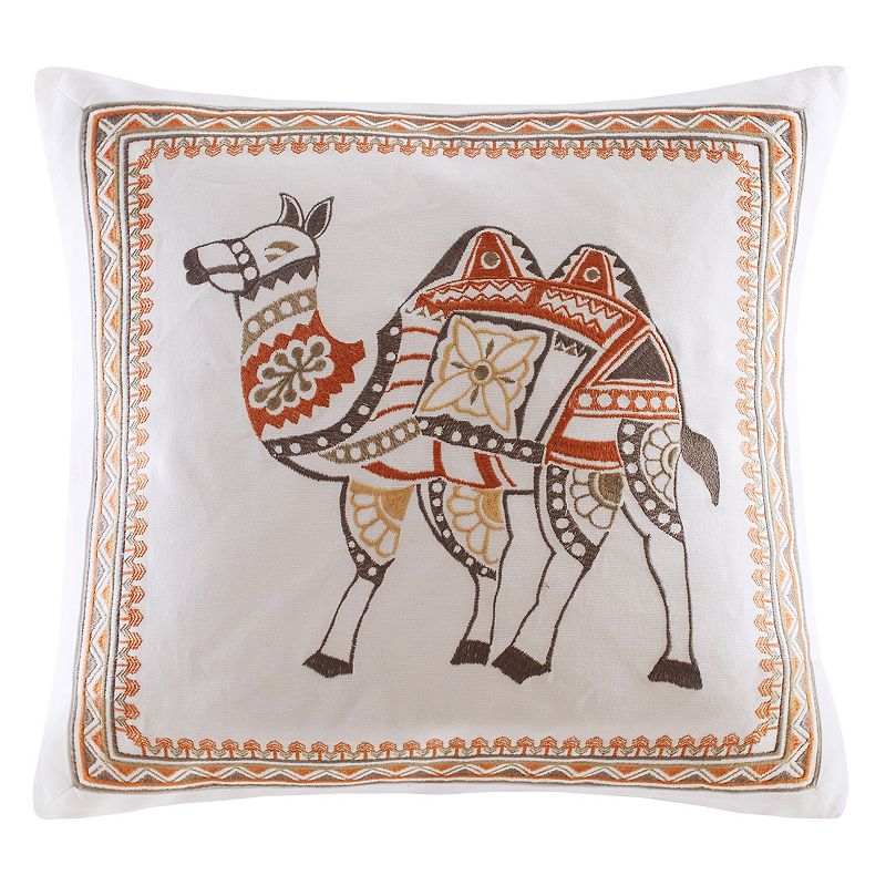 INK+IVY Dustin Camel Embroidered Throw Pillow