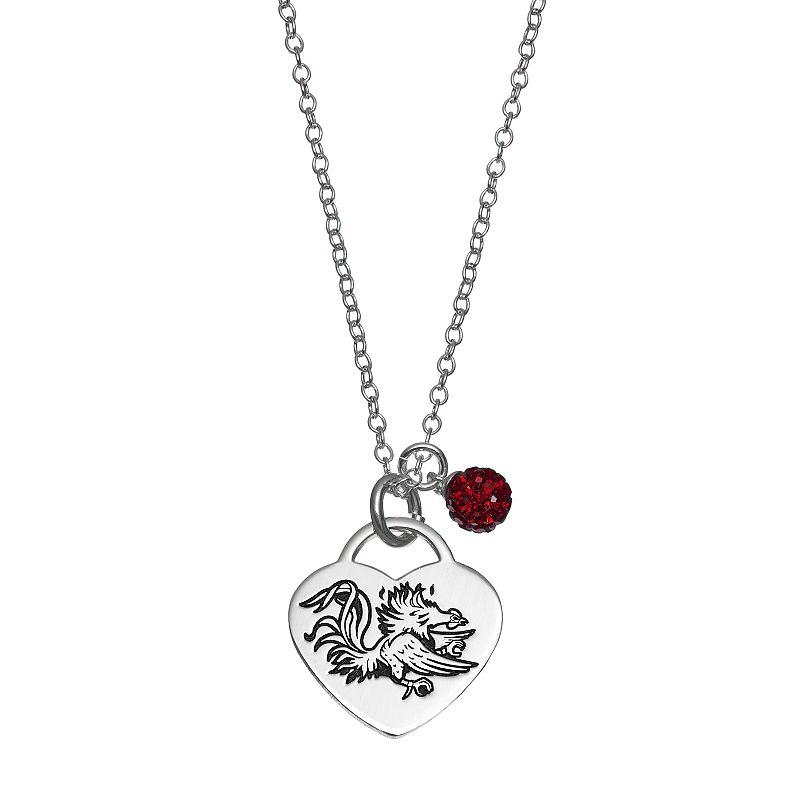 Fiora Sterling Silver South Carolina Gamecocks Heart Pendant Necklace