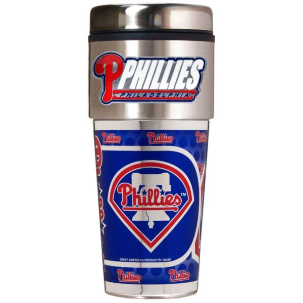 Philadelphia Phillies 16-Ounce Metallic Travel Tumbler