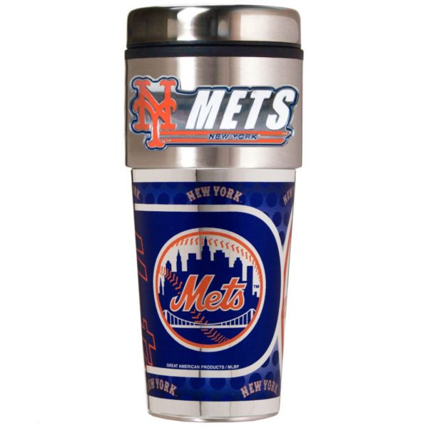 New York Mets 16-Ounce Metallic Travel Tumbler