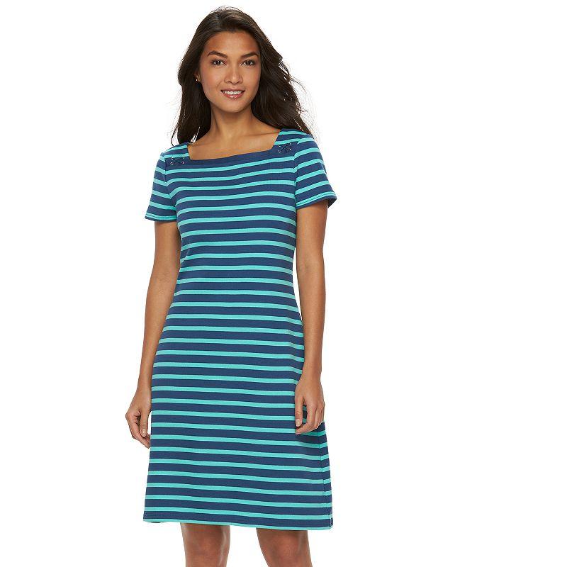Women's Chaps Striped Squareneck Dress