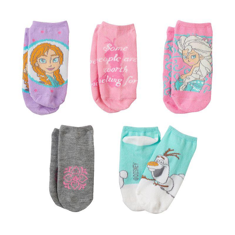Disney's Frozen Anna, Elsa & Olaf Girls 5-pk. No-Show Socks