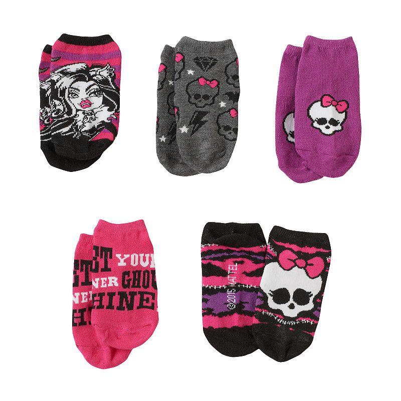 Girls Monster High 5-pk. No-Show Socks