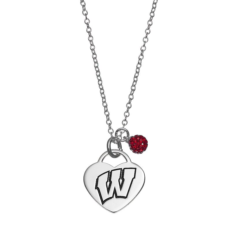 Fiora Sterling Silver Wisconsin Badgers Heart Pendant Necklace