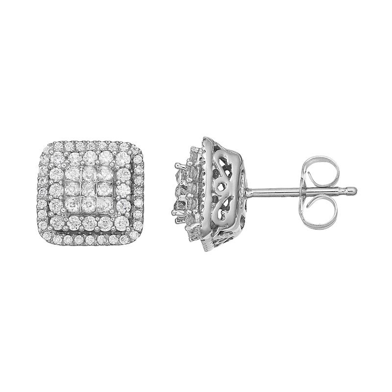 10k White Gold 3/4 Carat T.W. Tiered Square Halo Stud Earrings