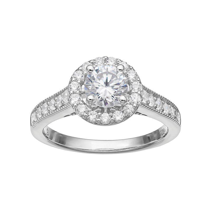 14k White Gold 1 1/4 Carat T.W. IGL Certified Diamond Halo Engagement Ring