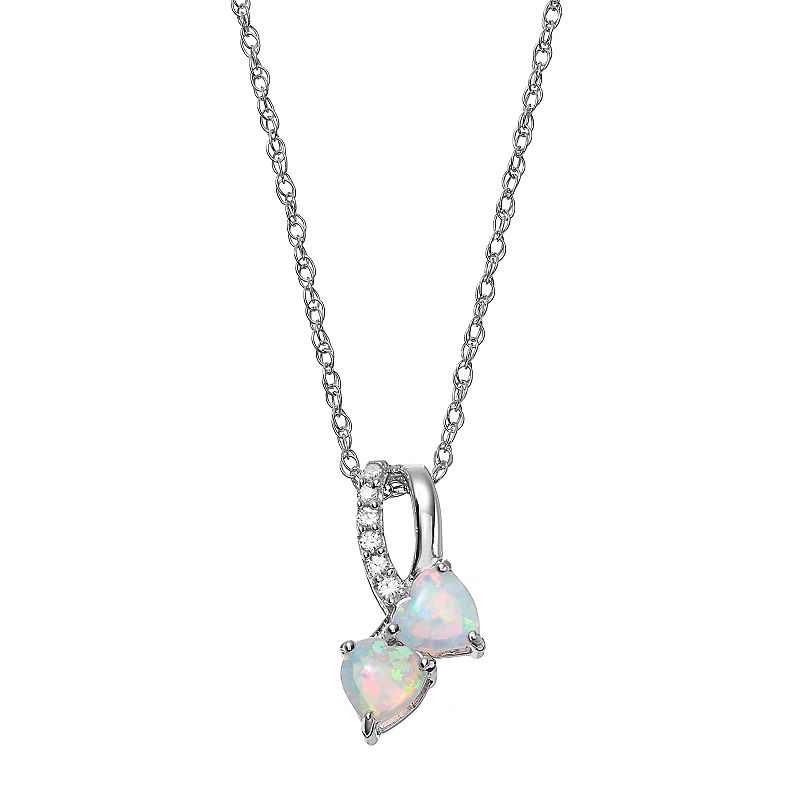 Sterling Silver Lab-Created Opal & Lab-Created White Sapphire Double Heart Pendant