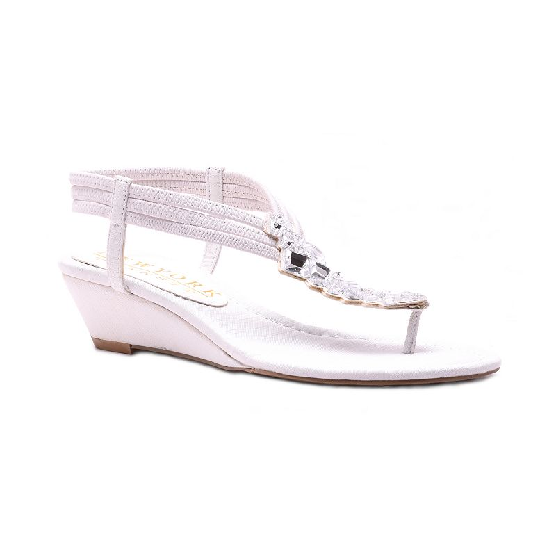 New York Transit Just Right Women's Jeweled Wedge Sandals