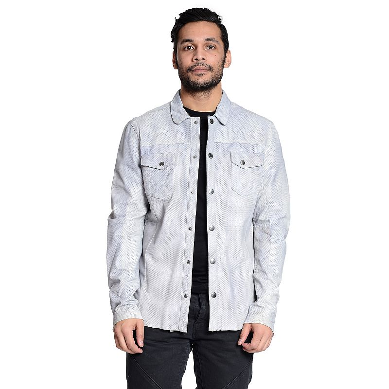 Men's Excelled Perforated Leather Shirt Jacket