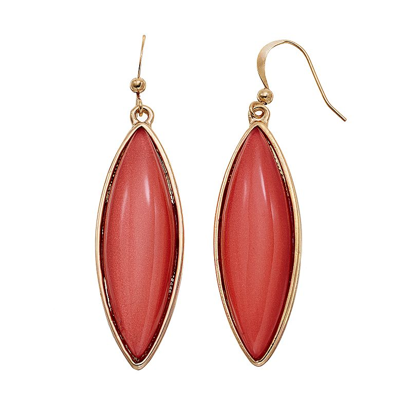 Pink Cabochon Marquise Drop Earrings