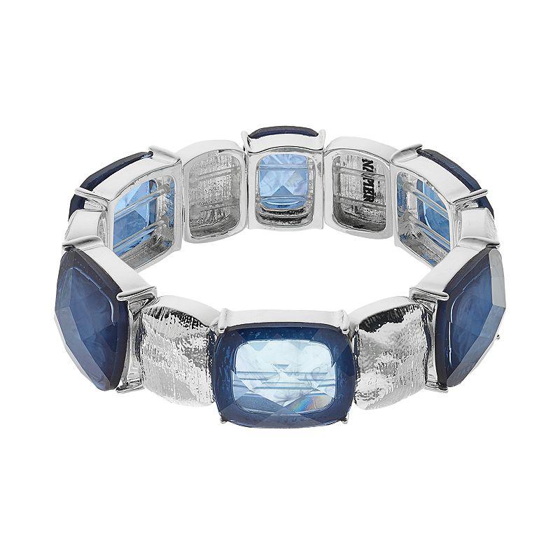 Napier Blue Hammered Link Stretch Bracelet
