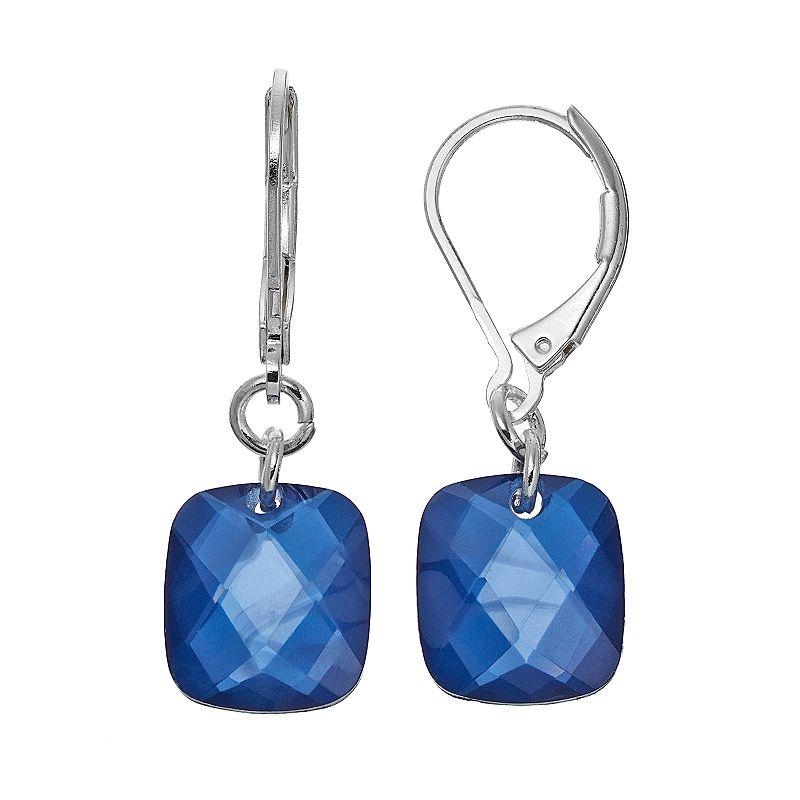 Napier Blue Rectangular Drop Earrings