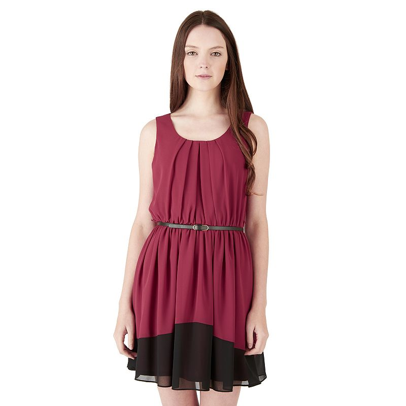 Juniors' IZ Byer California Pleated Colorblock Dress