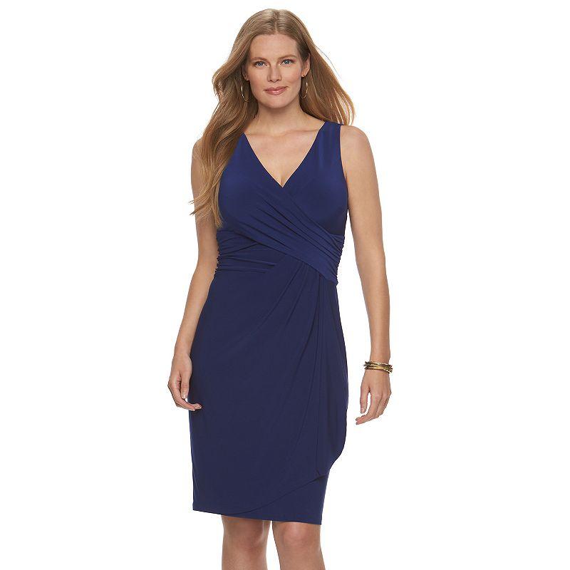 Plus Size Chaps Surplice Faux-Wrap Dress