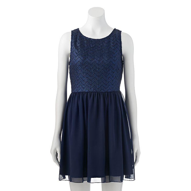 Juniors' Speechless Chevron Lace Skater Dress