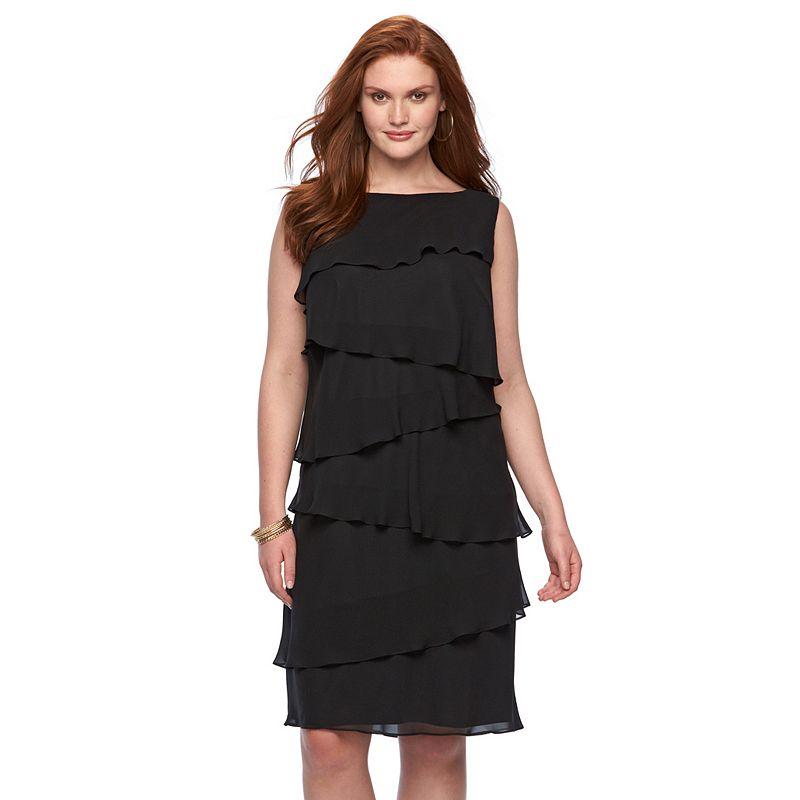 Plus Size Chaps Tiered Chiffon Sheath Dress