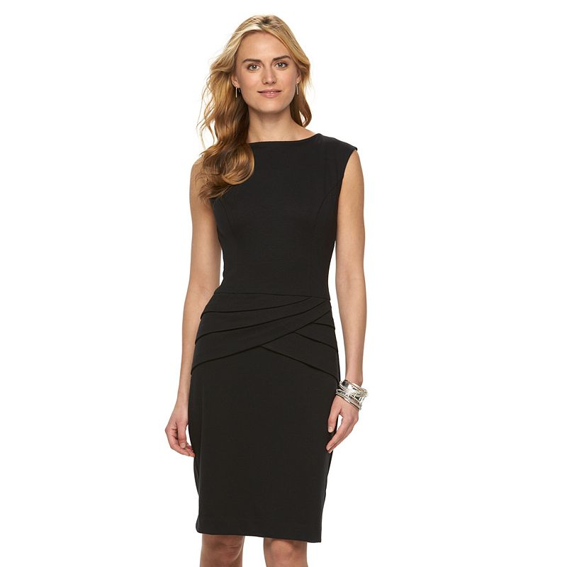 Petite Chaps Pleated Ponte Sheath Dress