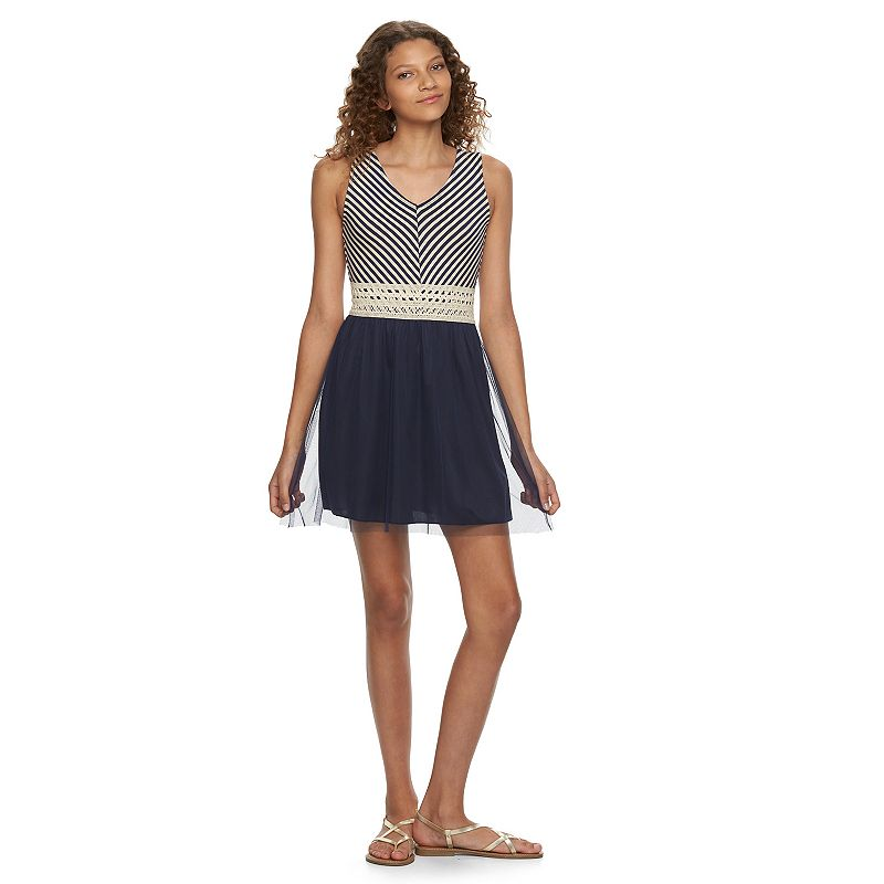 Juniors' Speechless Mitered Striped Dress