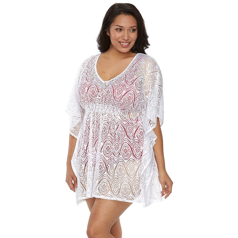 Plus Size Beach Scene Evie Crochet Batwing Tunic Cover-Up