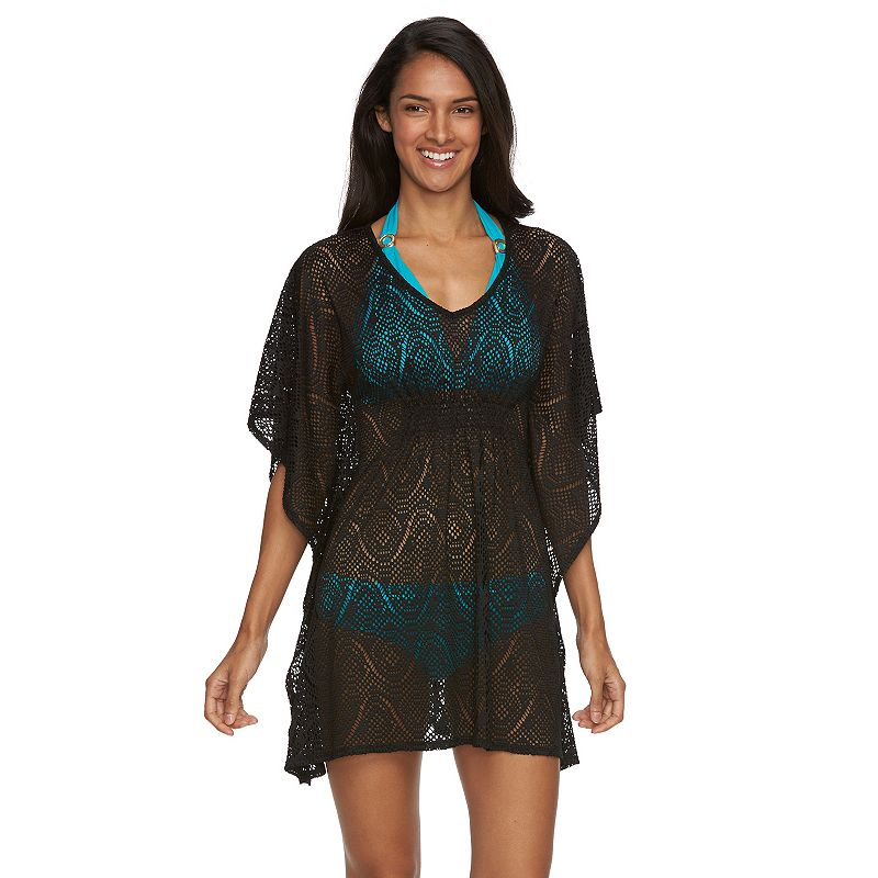 Women's Beach Scene Evie Crochet Batwing Tunic Cover-Up
