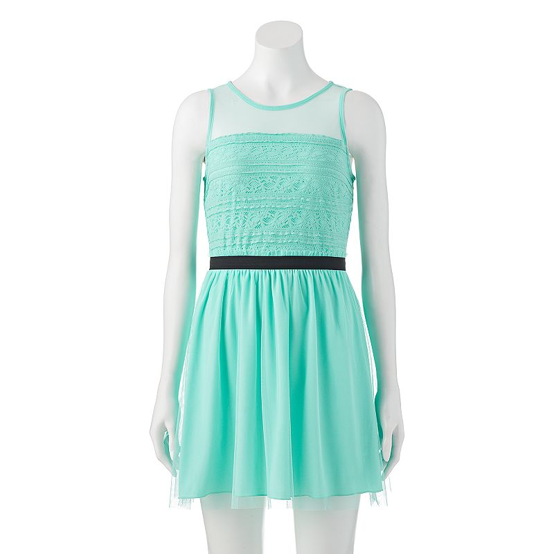 Juniors' Speechless Lace & Mesh Illusion Dress