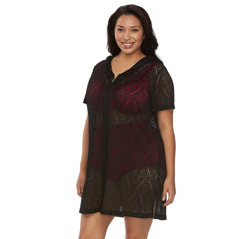 Plus Size Beach Scene Karen Crochet Hooded Cover-Up