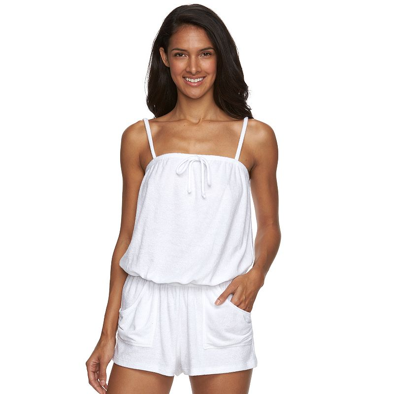 Women's Beach Scene Tie-Front Terry Romper Cover-Up