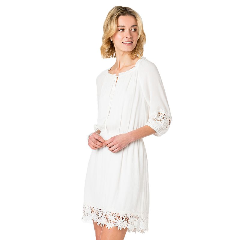 Women's Indication by ECI Crochet Trim Fit & Flare Dress
