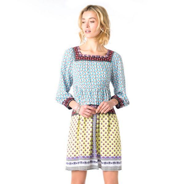 Women's Indication by ECI Print Squareneck Peasant Dress