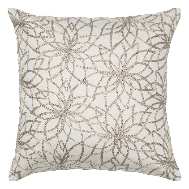 Rizzy Home Embroidered Floral Motif Throw Pillow