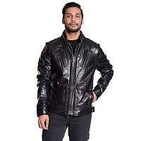 Men's Excelled Double-Zip Leather Moto Jacket