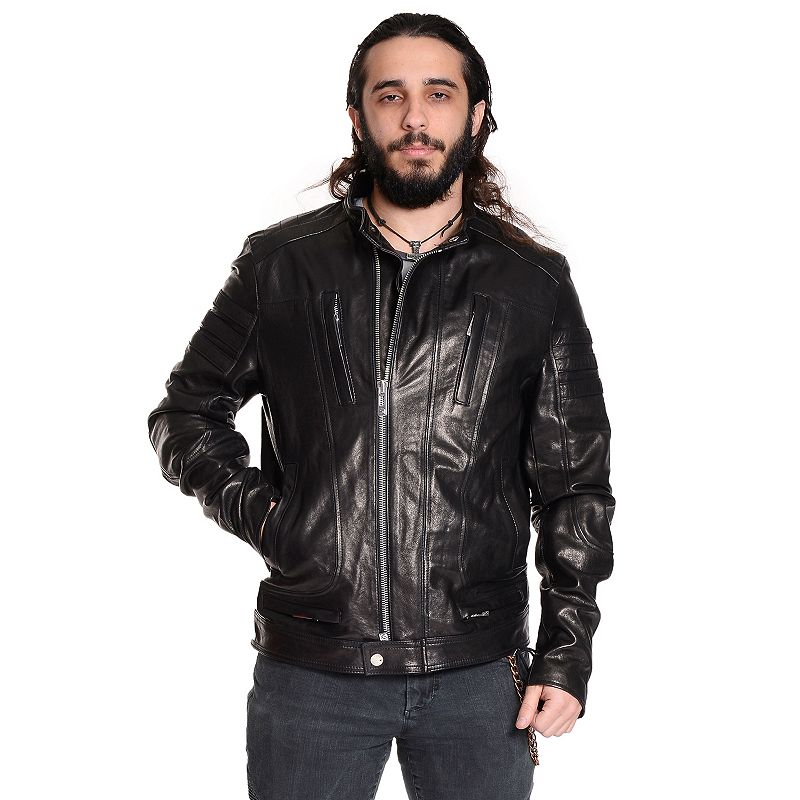 Men's Excelled Leather Café Racer Moto Jacket