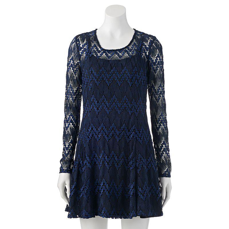 Juniors' Speechless Crochet & Lace Dress
