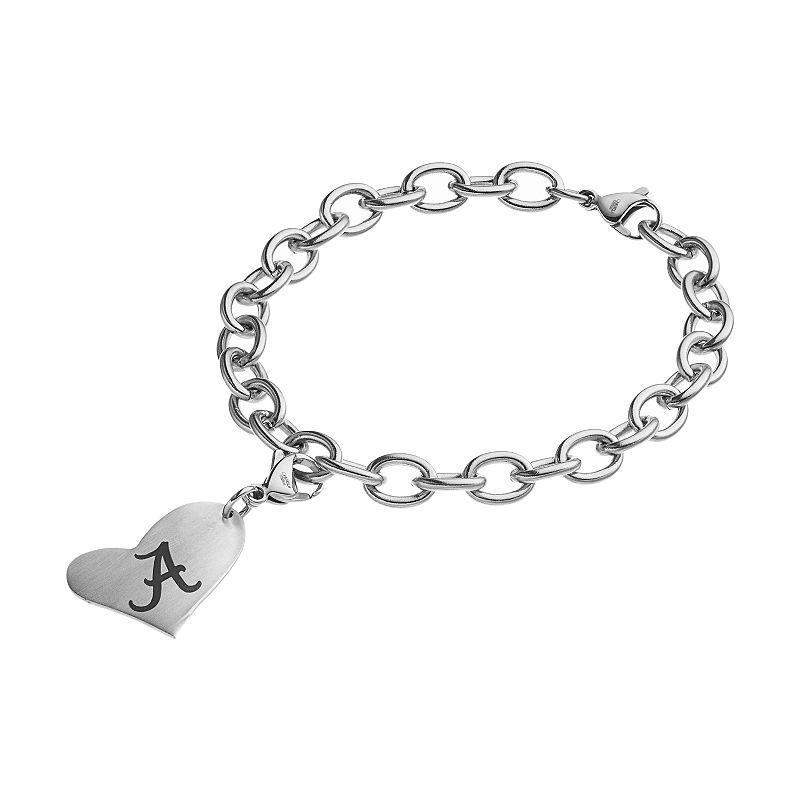 Fiora Stainless Steel Alabama Crimson Tide Heart Charm Bracelet