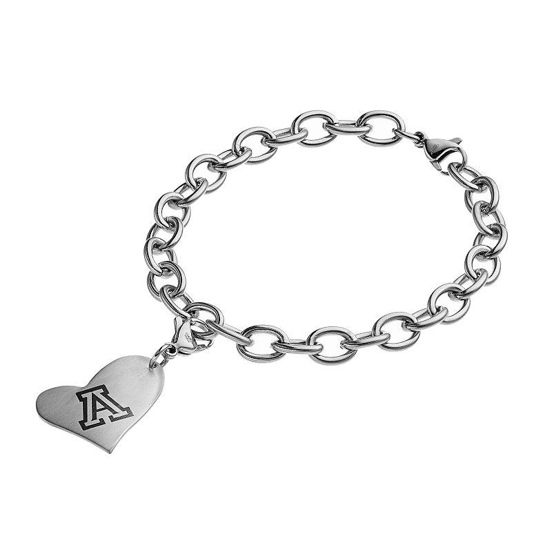 Fiora Stainless Steel Arizona Wildcats Heart Charm Bracelet