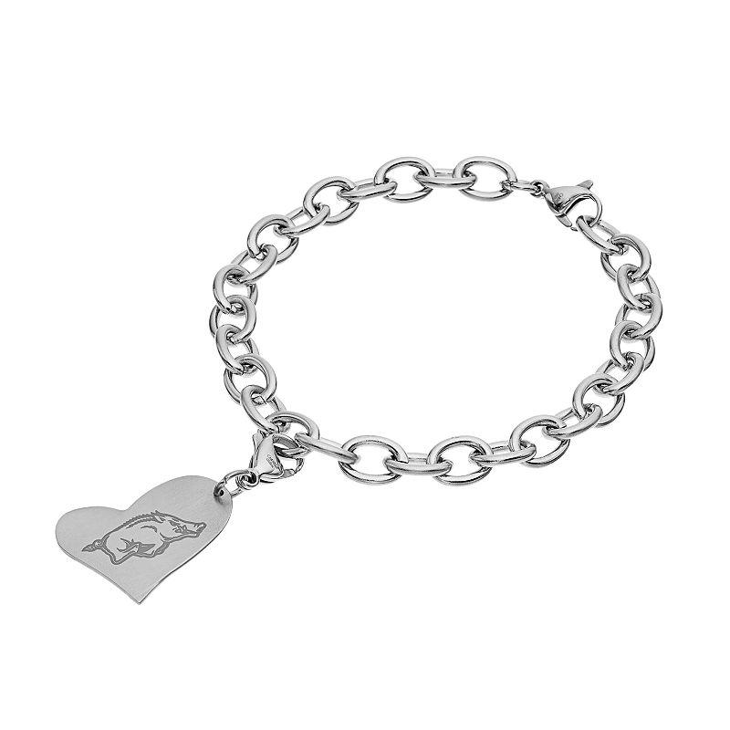 Fiora Stainless Steel Arkansas Razorbacks Heart Charm Bracelet
