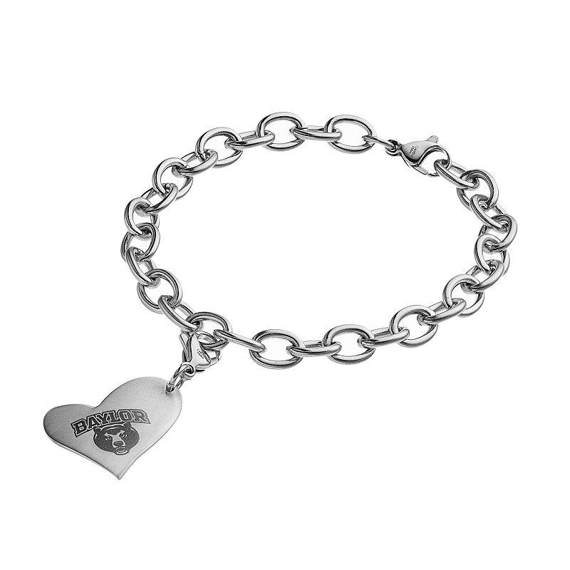 Fiora Stainless Steel Baylor Bears Heart Charm Bracelet
