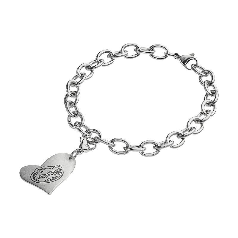 Fiora Stainless Steel Florida Gators Heart Charm Bracelet