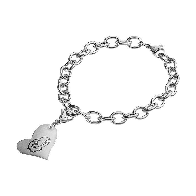 Fiora Stainless Steel Kansas Jayhawks Charm Bracelet