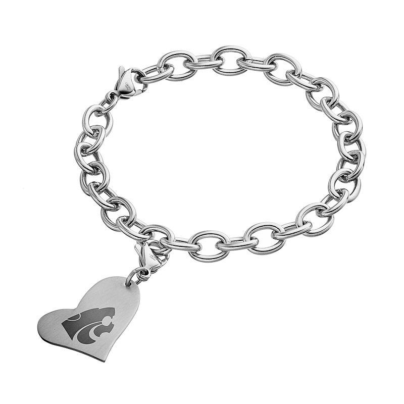 Fiora Stainless Steel Kansas State Wildcats Heart Charm Bracelet