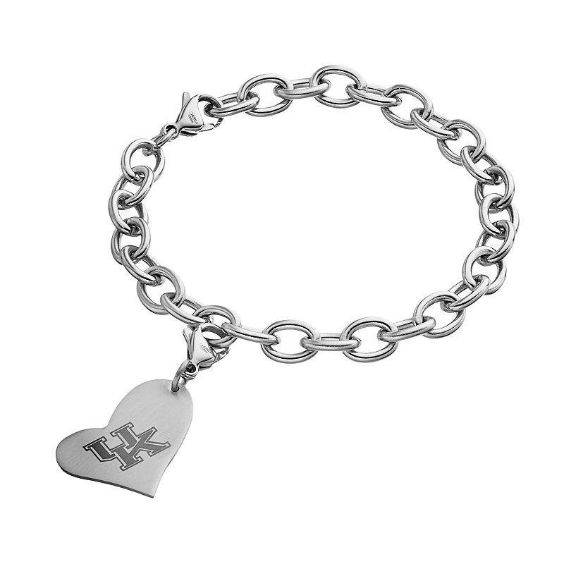 Fiora Stainless Steel Kentucky Wildcats Heart Charm Bracelet